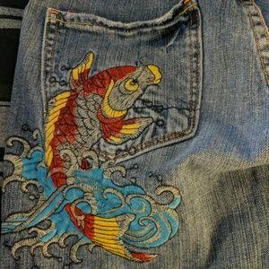 Vertigo Paris cropped jeans with Koi, size 5/6